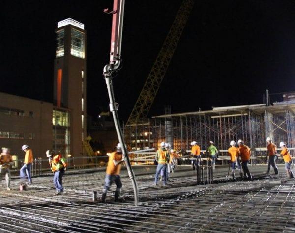 missouri state university glass hall dewitt night concrete pour